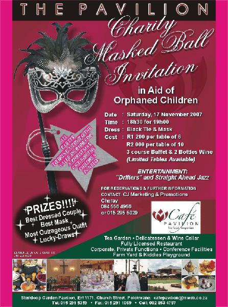 Cafe Pavilion Charity Masked Ball – 17 November 2007