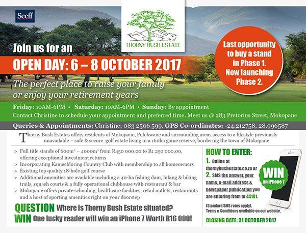 Thorny Bush – Open Day: 6-8 October 2017